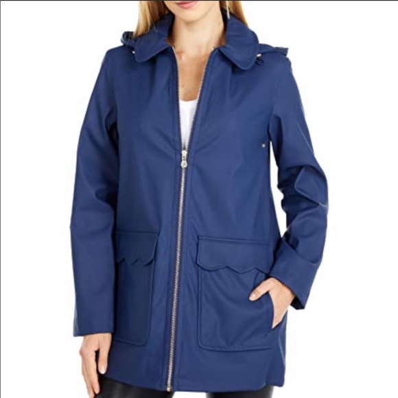 Kate Spade NWT Matte Blue Scalloped Hooded Trench Rain Jacket